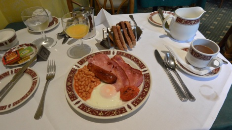 """Full English"" breakfast at Clarence Hotel, Windsor England."