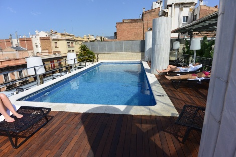 Rooftop pool at Hotel Pau Claris, Barcelona, Spain.