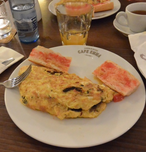 Onion, mushroom, and potato omelette at Café Emma, Barcelona.