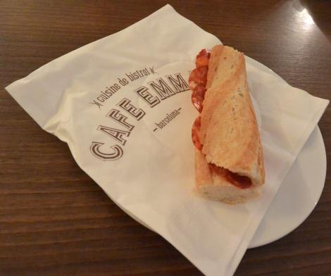 Bocadillo con salchichón at Café Emma, Barcelona, Spain.
