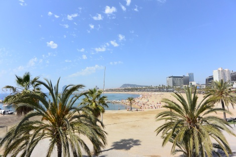 A look at the beach in Barcelona, Spain.