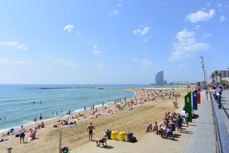 Another view of the beach at Barcelona, Spain, with the W Hotel in the background.