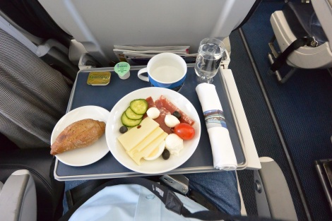 "Meal served in ""business class"" aboard British Airways Flight 2708."