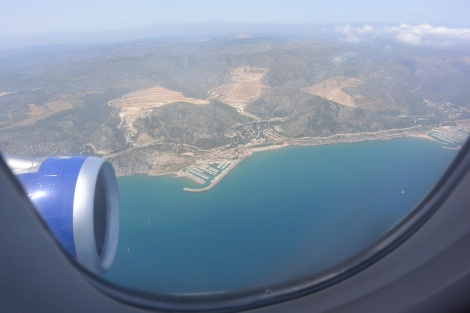 View of Spanish coast on approach to Barcelona Airport from British Airways Flight 2708.