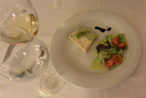 Leek and spinach terrine appetizer at Hotel Villa de Ábalos, Spain.
