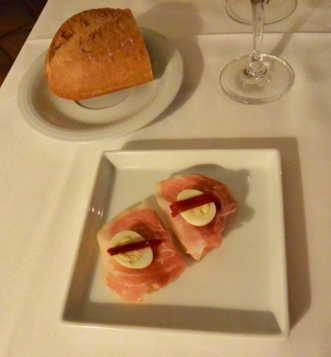 A little something to start the meal at Hotel Villa de Ábalos, Spain.
