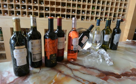 Wines available at the bar in the Hotel Marques de Riscal, Elciego, Spain.
