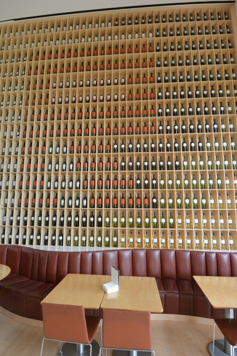 A wall of wine at Hotel Marques de Riscal, Elciego, Spain.