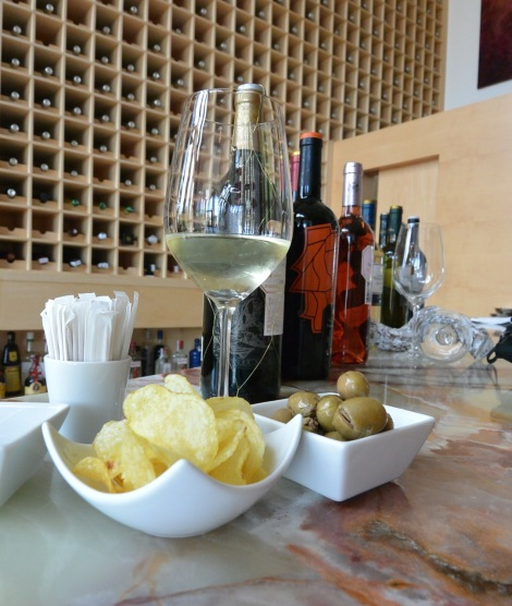 Snacks with wine at Hotel Marques de Riscal, Elciego, Spain.