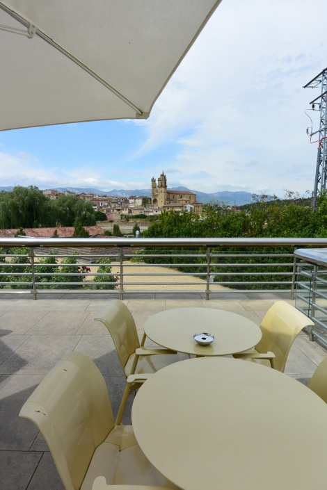 Terrace at Hotel Marques de Riscal, Elciego, Spain.
