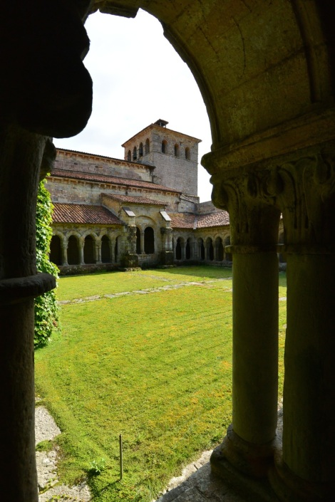 View from inside the cloister at the Collegiate Church of Santillana del Mar, Spain.
