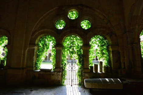 Another view in the cloister of the Collegiate Church of Santillana del Mar, Spain.