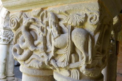 Column detail at Collegiate Church of Santillana del Mar, Spain.