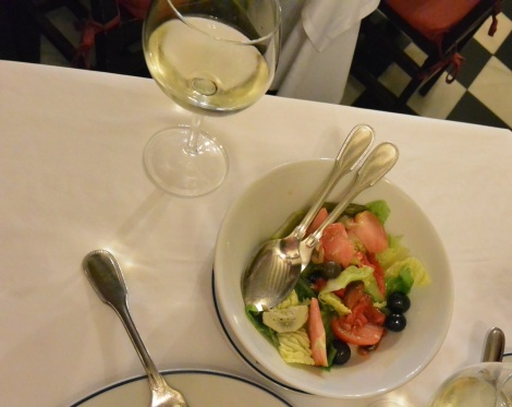 Half way through my salad at Restaurante Botín, Madrid, Spain.