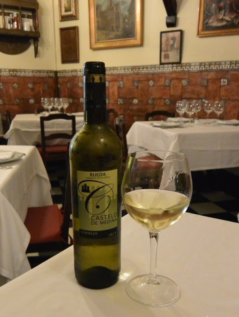 A bottle of Rueda at Restaurante Botín, Madrid, Spain.