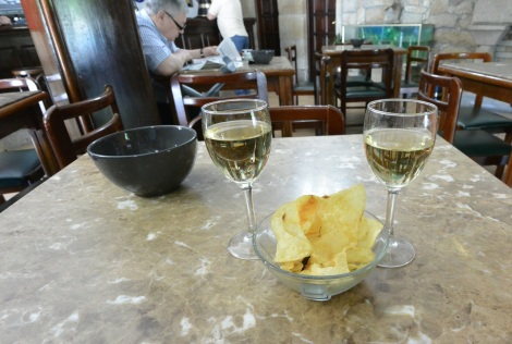 Wine and crisps in Cambados, Spain.