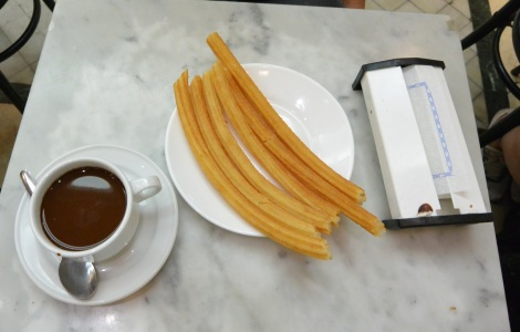 Churros and chocolate at Chocolateria San Gines, Madrid, Spain.