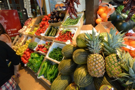 Fresh fruit and vegetables at Mercado San Miguel, Madrid, Spain.