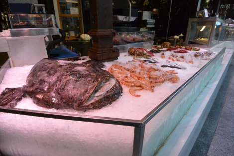 Fresh seafood at Mercado San Miguel, Madrid, Spain.