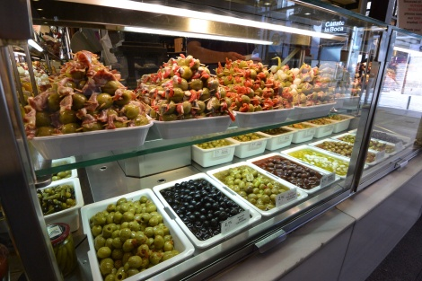 Olives and more at Mercado San Miguel, Madrid, Spain.