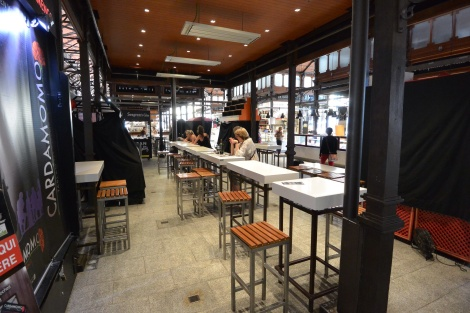 Dining area at Mercado San Miguel, Madrid, Spain.