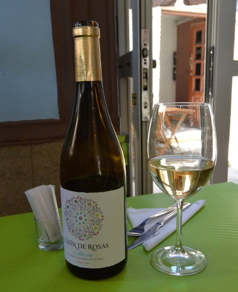 A bottle of albariño at Esquina de Miega, Cambados, Spain.