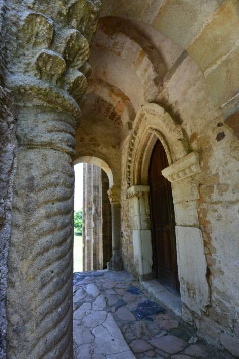 Detail of entrance to Santa María del Naranco, Oviedo, Spain.