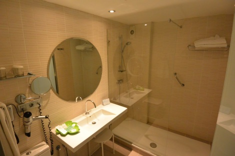 Bathroom in standard room at Hotel Ópera, Madrid, Spain.