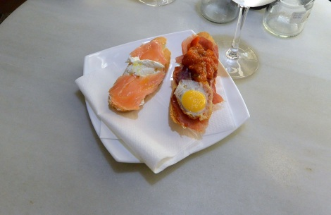 Fresh tapas at La Consistorial, Oviedo, Spain.