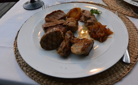 Pork loin at at Quinta de San Amaro, Meaño, Spain.
