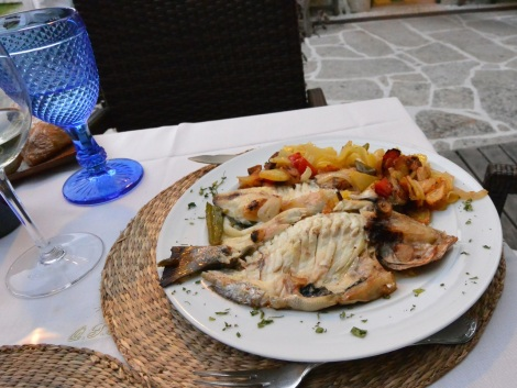 Whole fish at at Quinta de San Amaro, Meaño, Spain.
