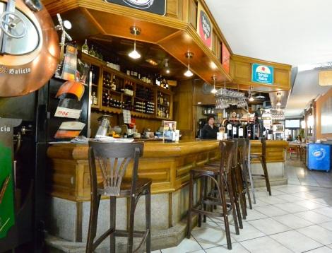 The bar at Cerveceria Rua Bella, Santiago de Compostela, Spain.