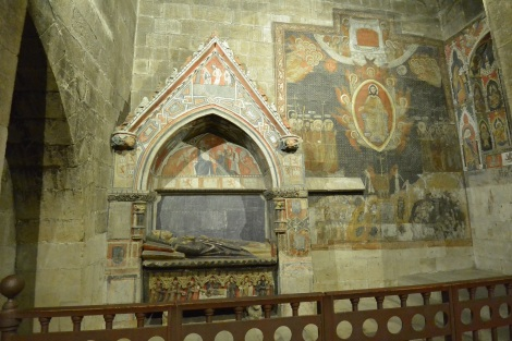 Tomb and wall paintings at Salamanca's Cathedral.