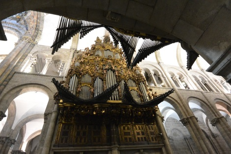 Pipe organ at the Cathedral of Santiago de Compostela, Spain.