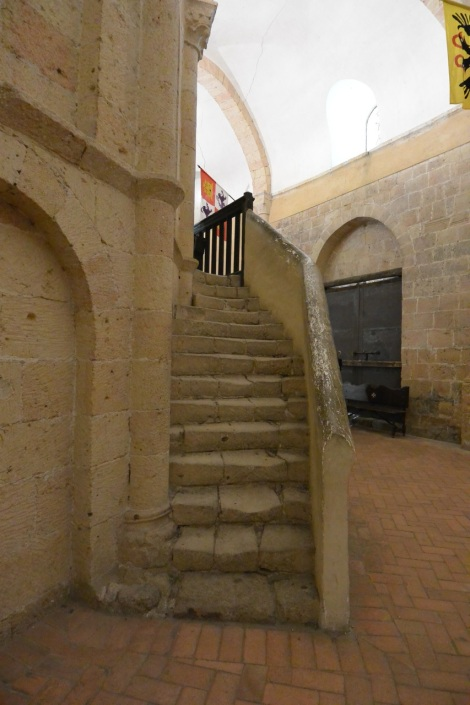 Staircase inside the Church of the Vera Cruz, Segovia, Spain.