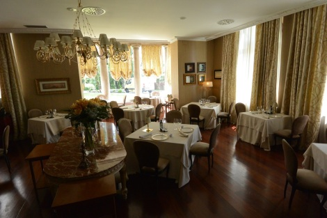 Dining room at Hotel Castillo Bosque de la Zoreda, Oviedo, Spain.