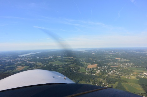 Upper reaches of the Chesapeake Bay as seen from a Diamond DA-40.