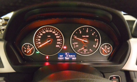 Instrument cluster in 3 Series BMW rented from Hertz, Spain.