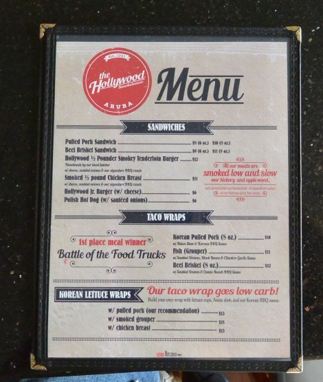 Menu at Hollywood Smokehouse, Aruba.