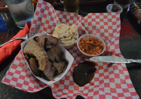 Brisket platter at Hollywood Smokehouse, Aruba.