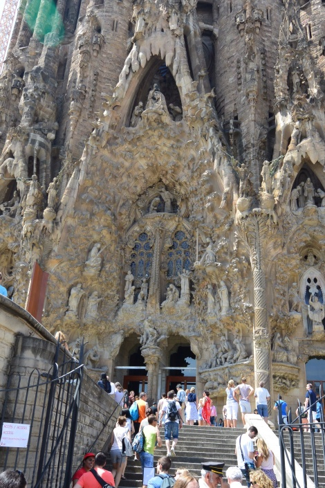 Entrance to La Sagrada Familia, Barcelona, Spain.