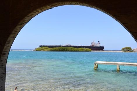 Tanker off the coast of Savaneta, Aruba, DWI.