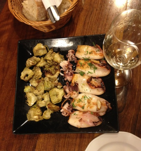 Chipirones with artichokes at Tempranillo, Madrid, Spain.