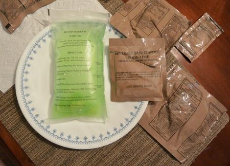 Lemon/lime beverage mixed in supplied hot beverage bag.