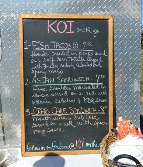 Koi On the Go, Menu Board.