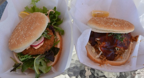 Crab Cake and Asian Sandwiches from Koi On The Go food truck.