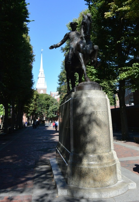 Paul Revere's statue with the Old North Church in the background.
