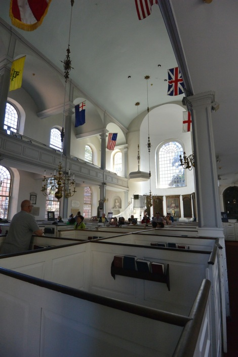 Interior of the Old North Church, Boston, MA, USA.