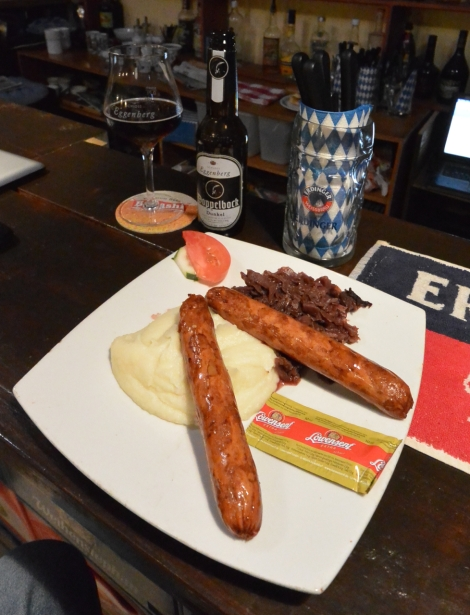 Bratwurst platter at Bavaria German Restaurant, Aruba.