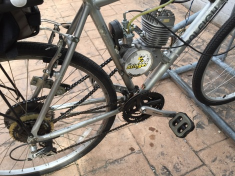 Another look at the drive train on this dual powered bicycle.